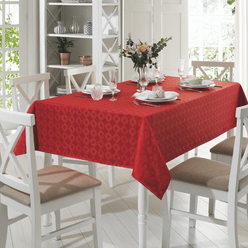 Toalha-de-Mesa-160-x-160-Dohler-Requinte-Mosaico-Vermelha-4667-Ambientada